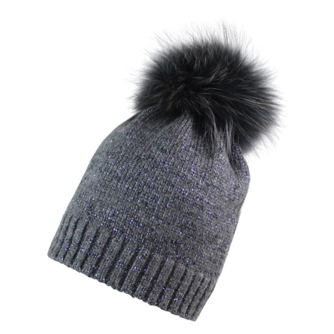 Ana womens anthracite lurex fun fur pom beanie hat — Dick s Board Store efd8f7fc3a0