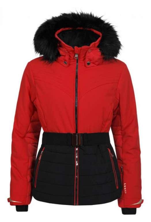 306ee08923 Luhta Bieta ladies fitted stretch ski jacket red and black fur trim